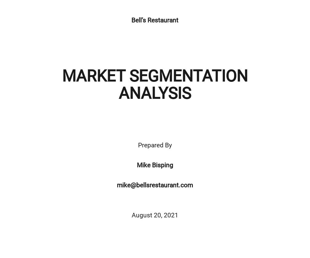 Market Segmentation Analysis Template