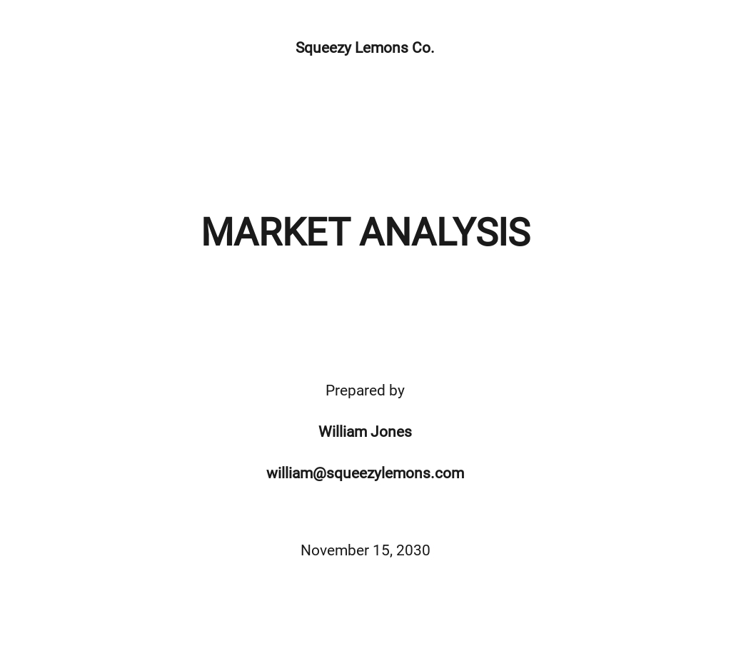 Blank Market Analysis Template