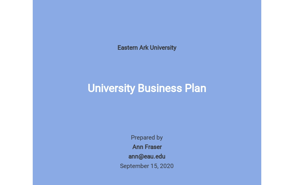 Free Blank University Business Plan Template
