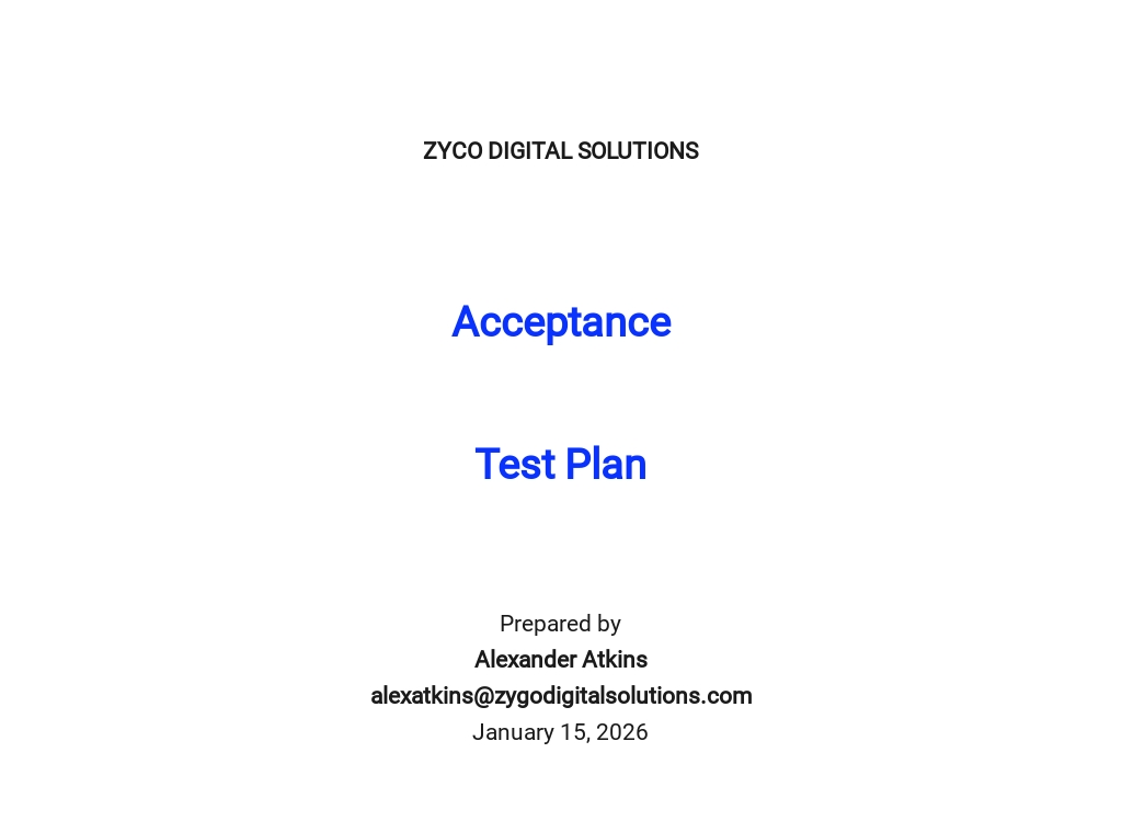 Acceptance Test Plan Template
