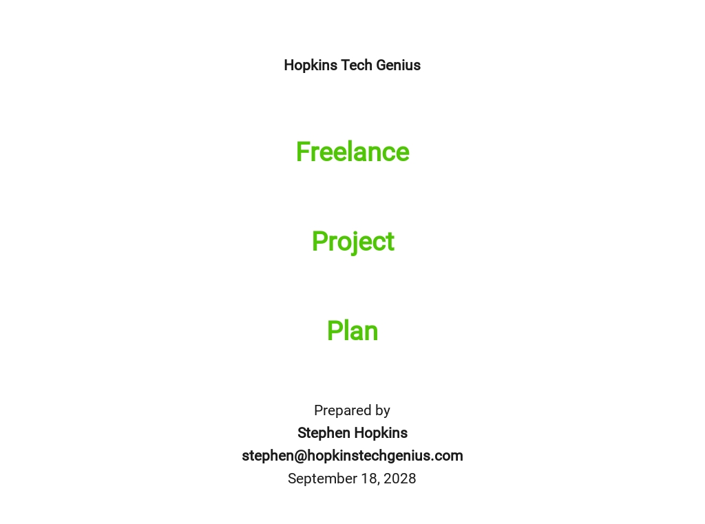 Freelance Project Plan Template