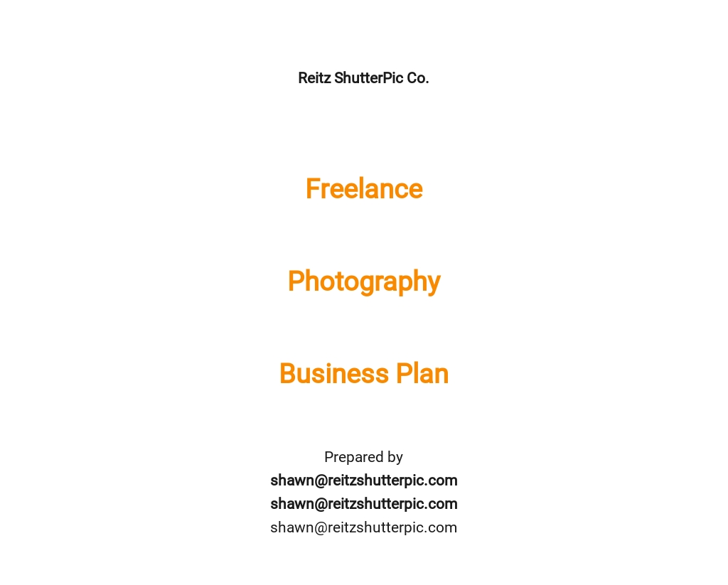 Freelance Photography Business Plan Template