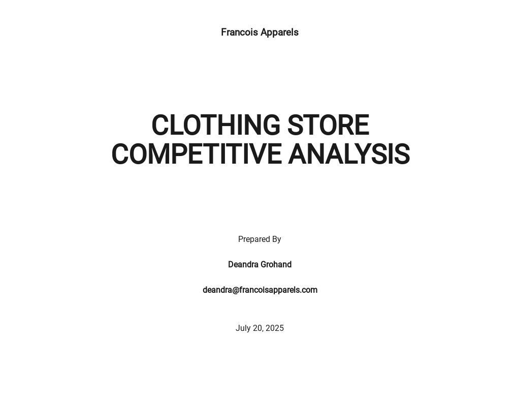 Clothing Store Competitive Analysis Template