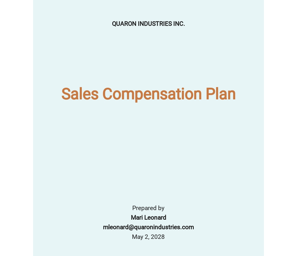 Sample Sales Compensation Plan