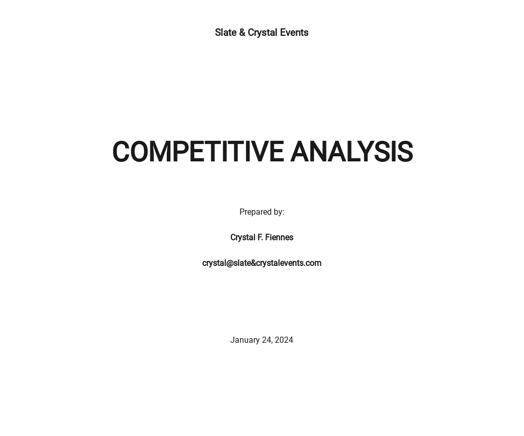 Sample Competitive Analysis Template
