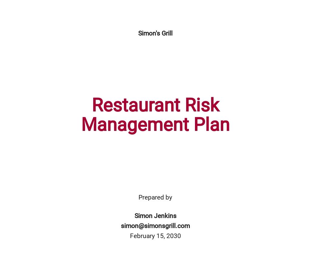 Restaurant Risk Management Plan Template