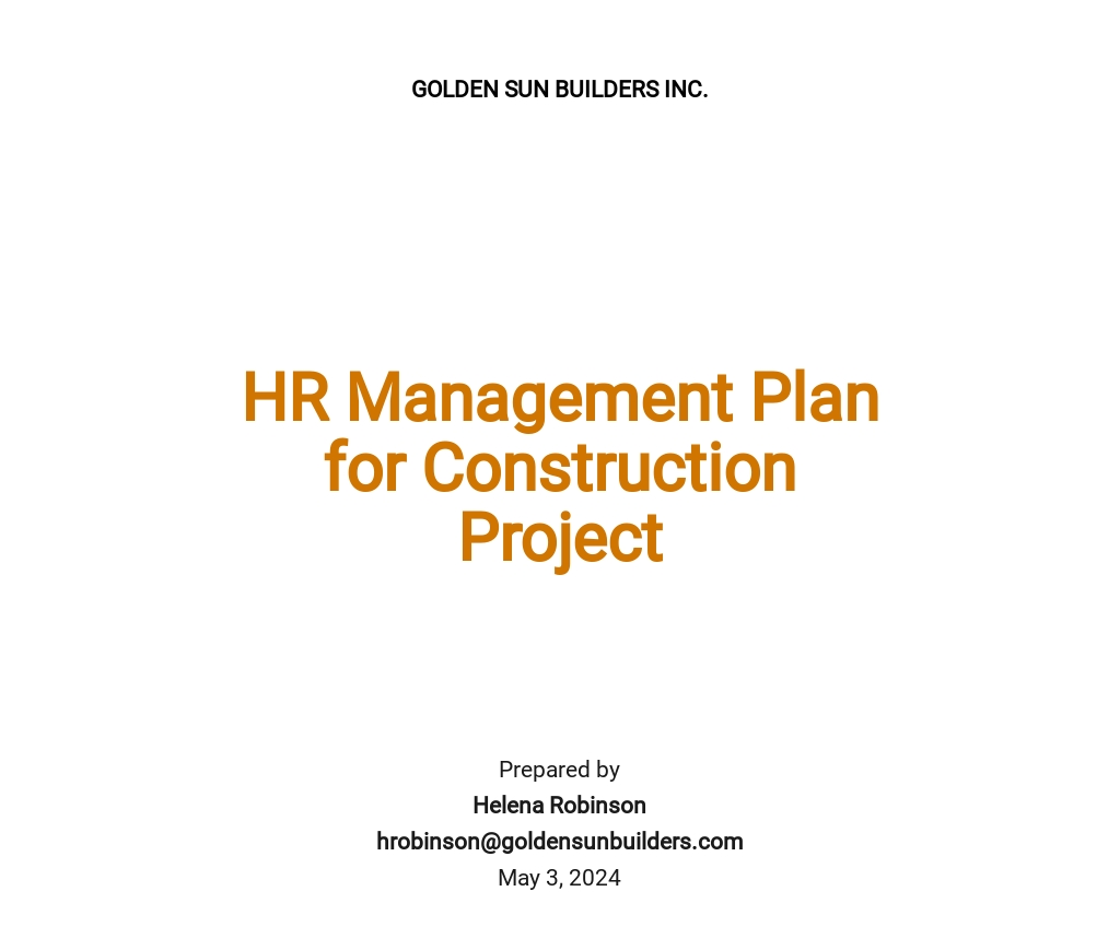 Hr Management Plan for a Construction Project Template