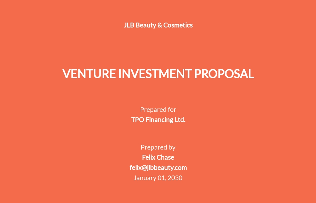 Venture Investment Proposal Template