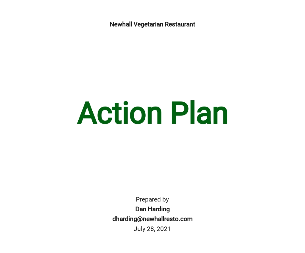Restaurant Action Plan Template