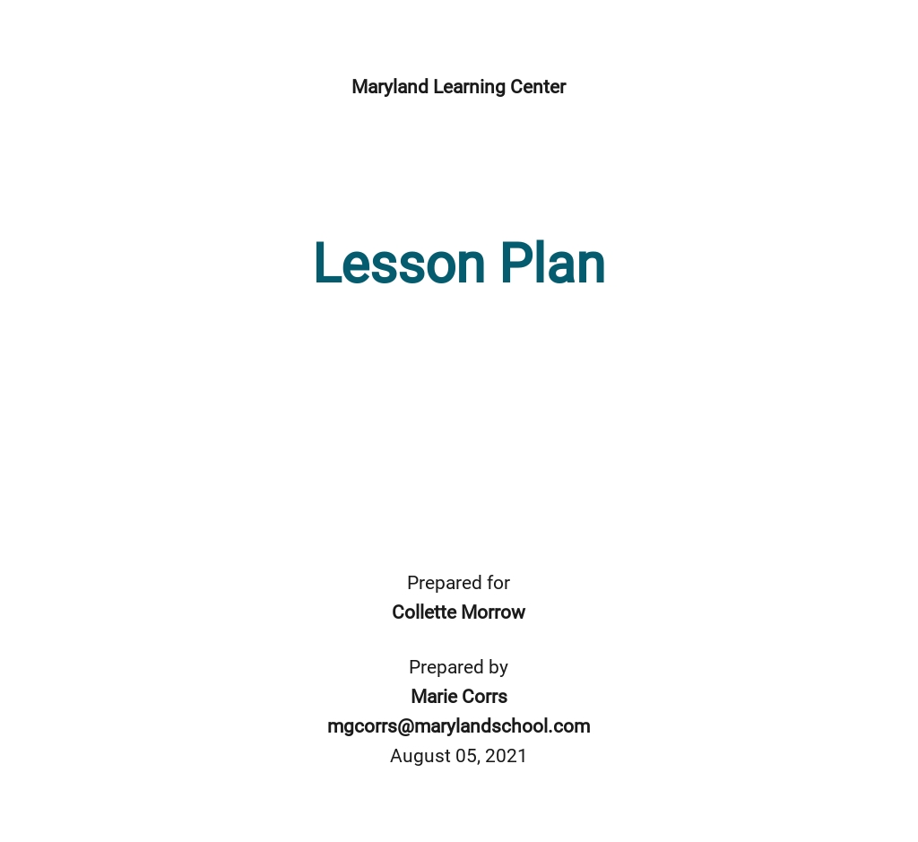 Free Toddler Daily Lesson Plan Template