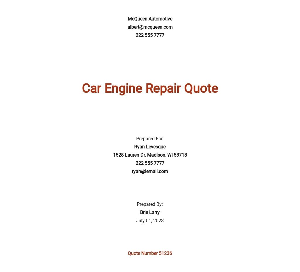 Free Car Repair Quotation Template