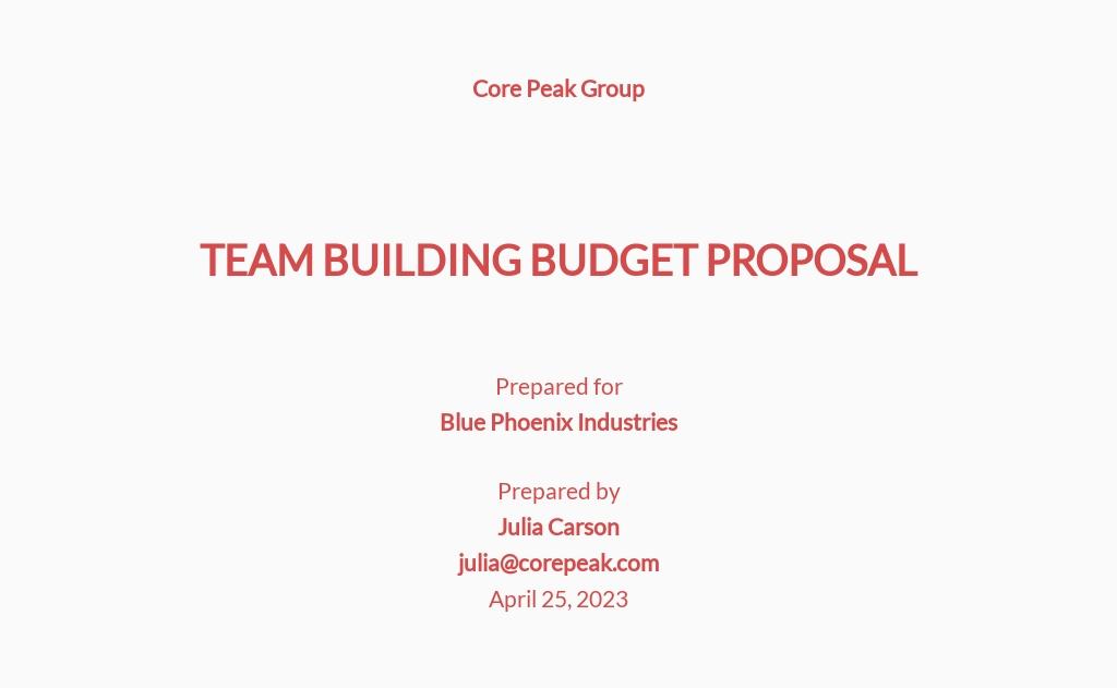 Team Building Budget Proposal Template