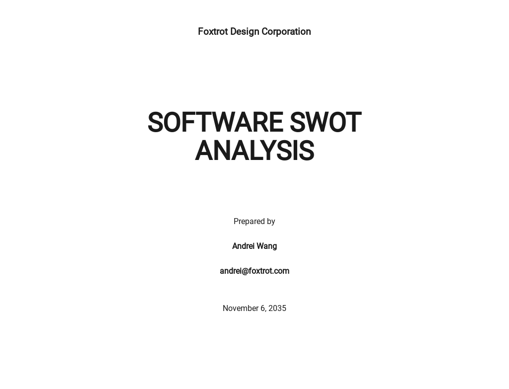 Software SWOT Analysis Strategy Template