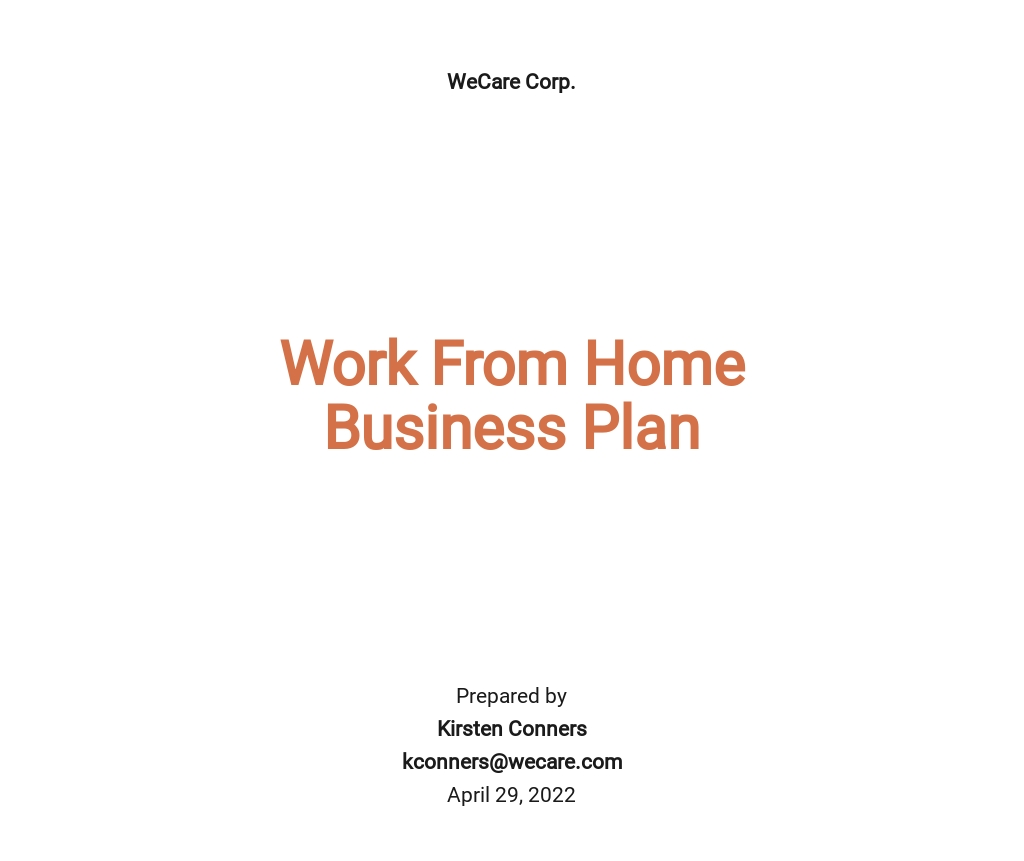 Work From Home Business Plan Template