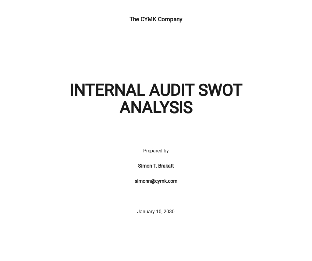 Internal Audit SWOT Analysis Template