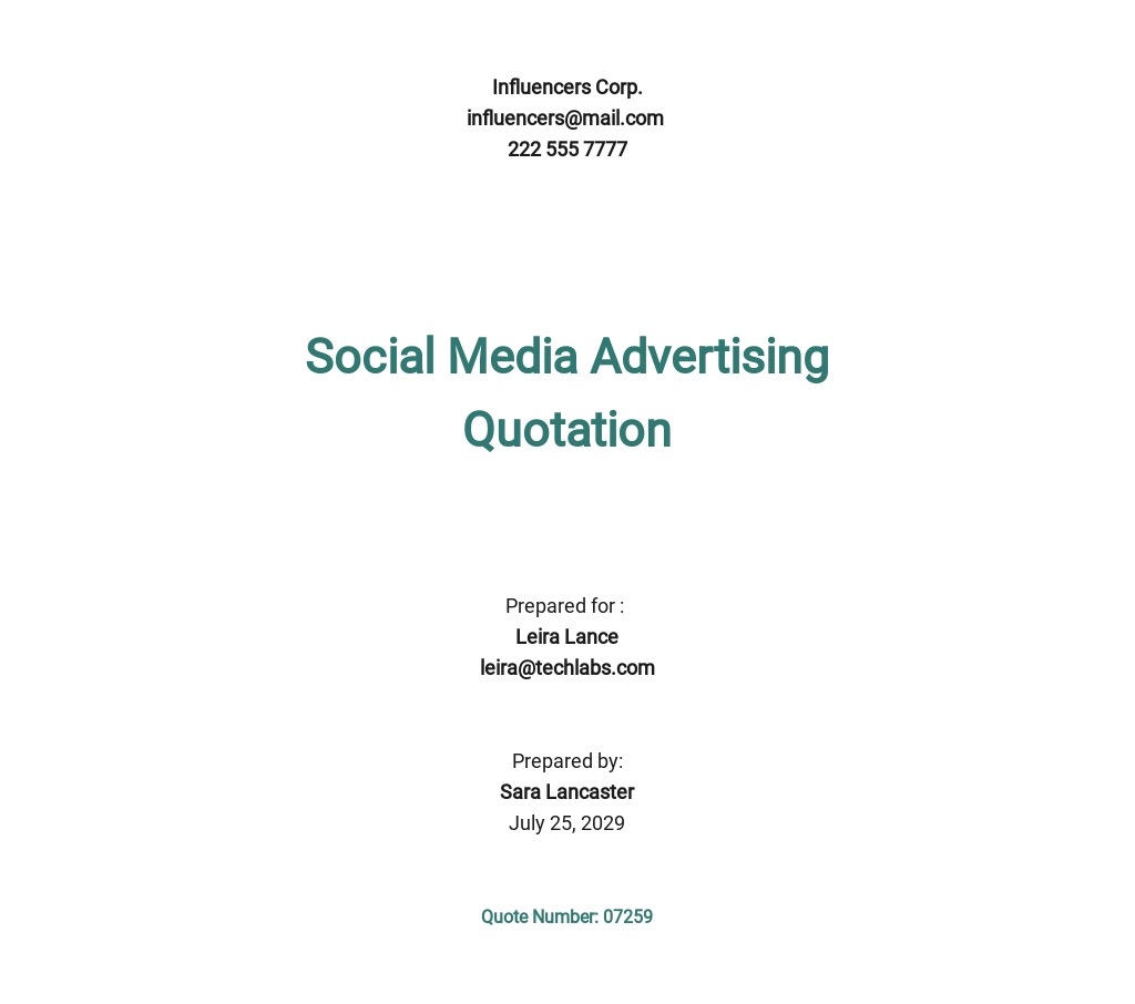 Free Social Media Advertising Quotation Template