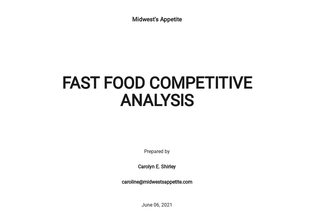 Fast Food Competitive Analysis Template