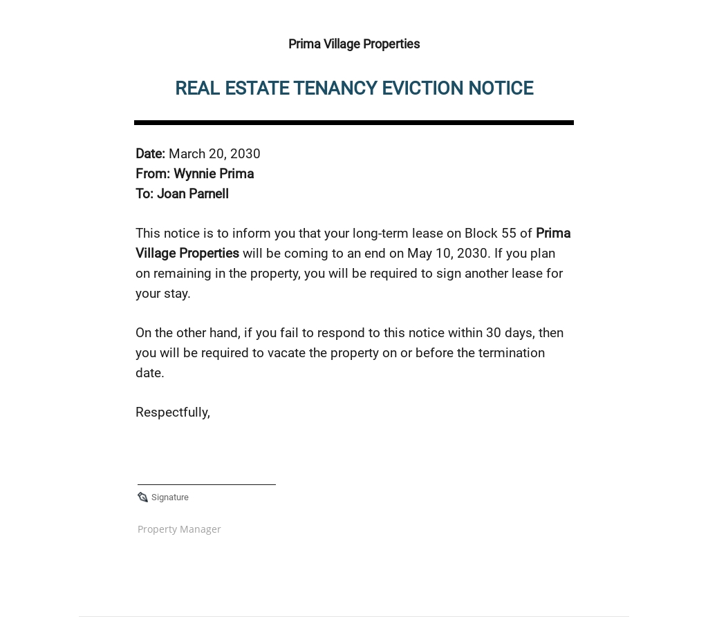 Real Estate Eviction Notice Form Template