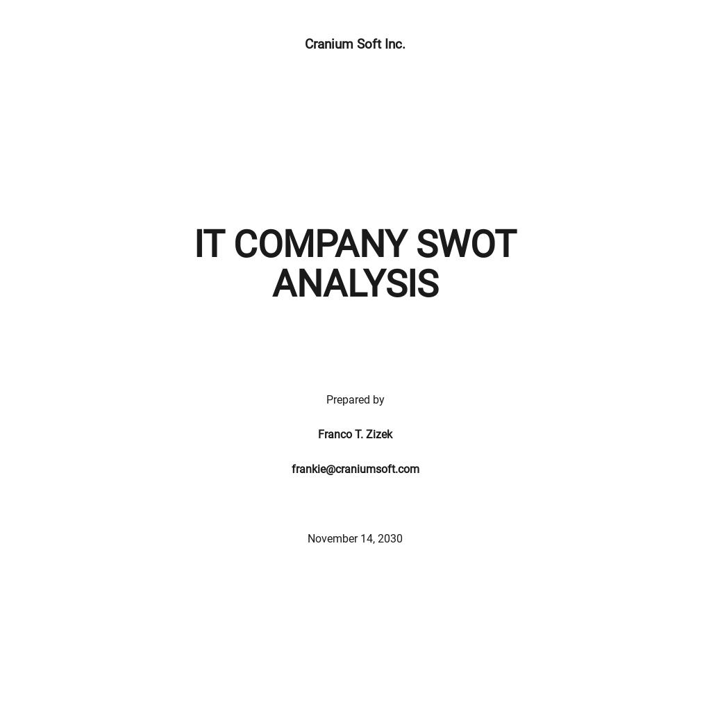 IT Company SWOT Analysis Template
