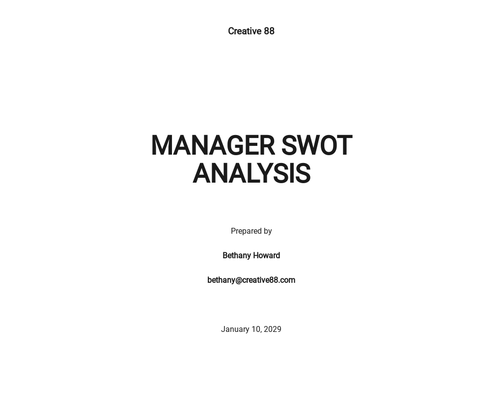 Manager SWOT Analysis Sample Template