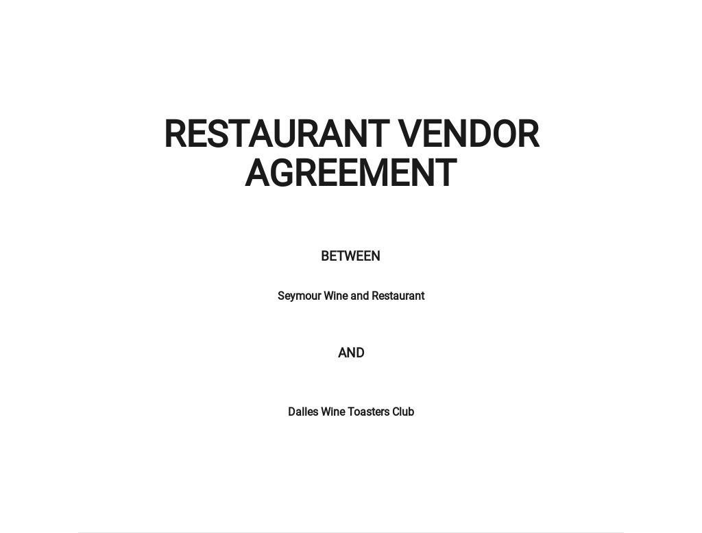 Restaurant Vendor Agreement Template