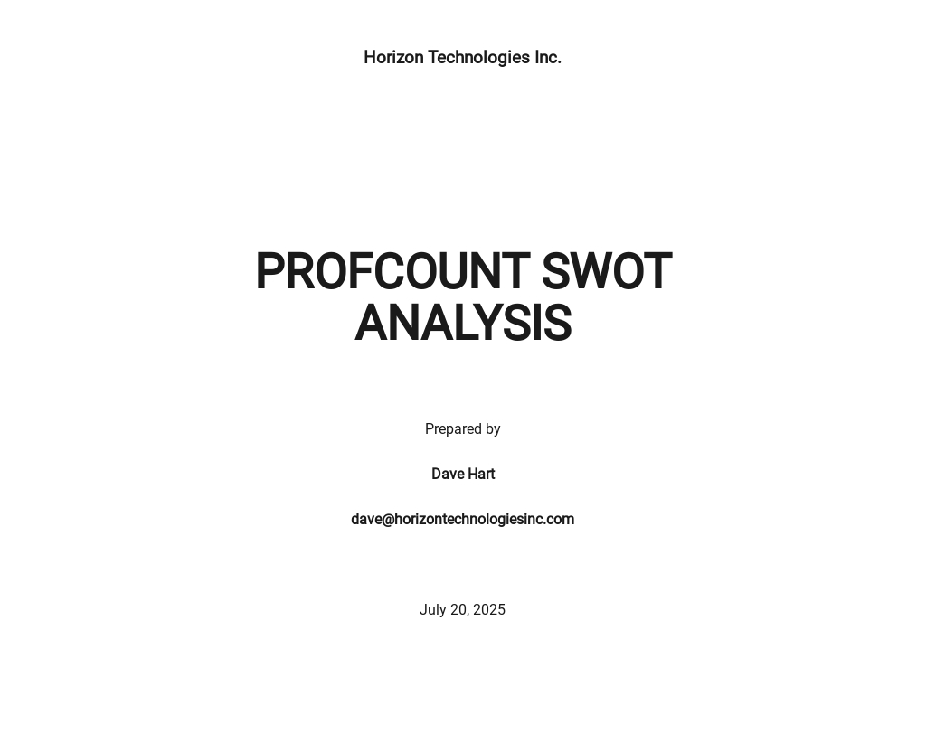 Technology SWOT Analysis Template