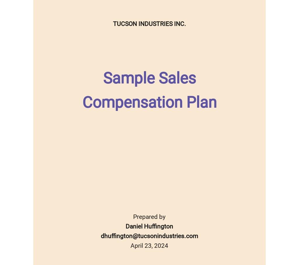 Sample Sales Compensation Plan Template