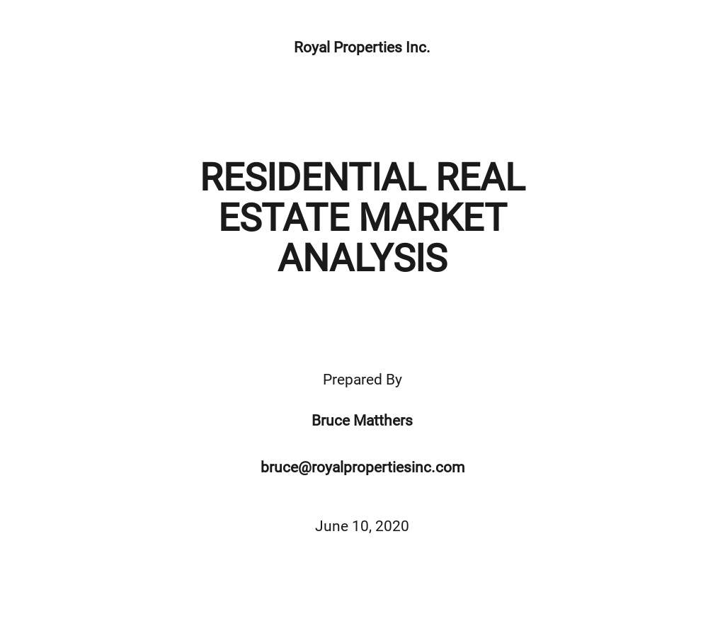 Free Simple Real Estate Market Analysis Template