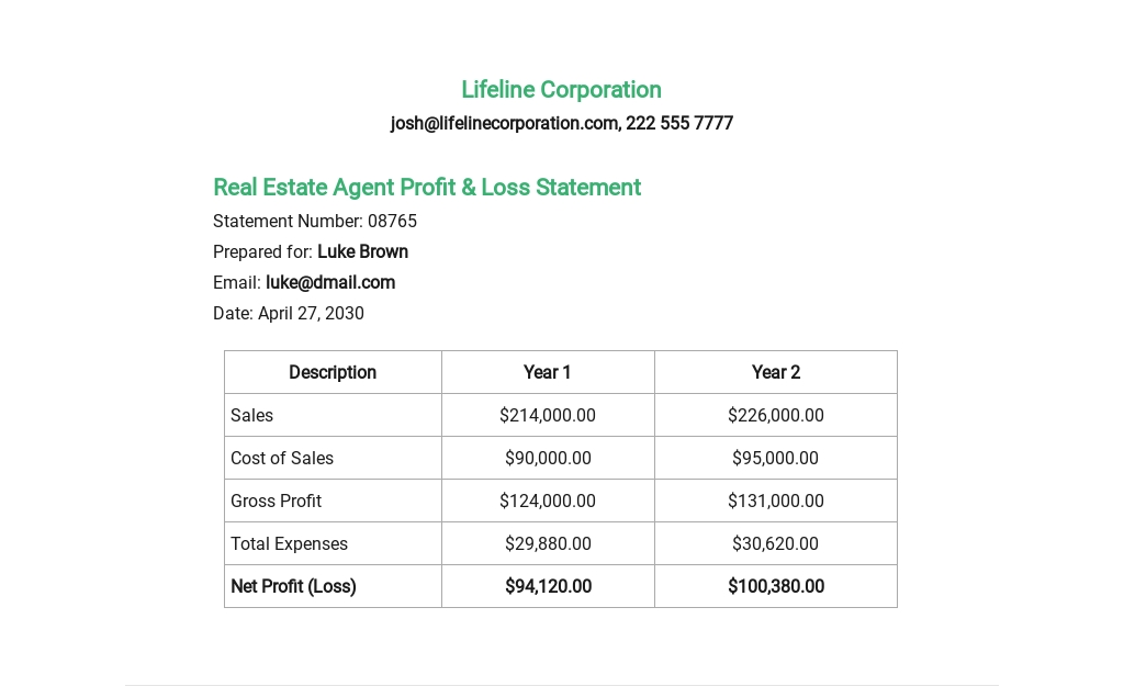 Real Estate Agent Profit And Loss Statement Template