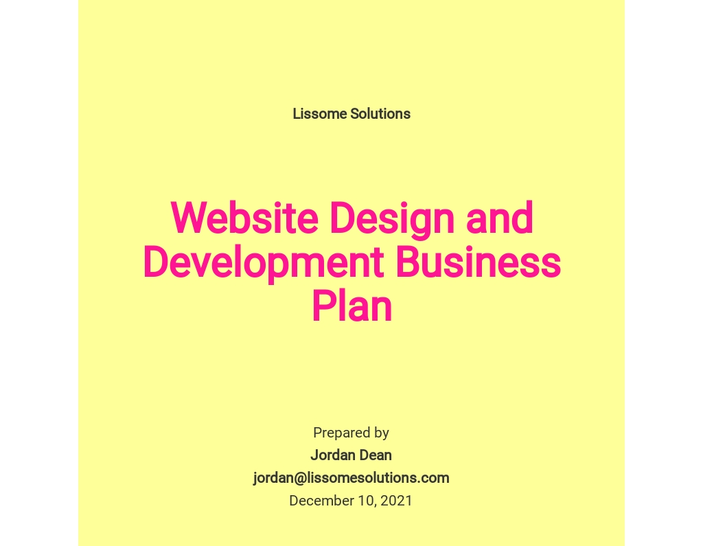 Website Design and Development Business Plan Template