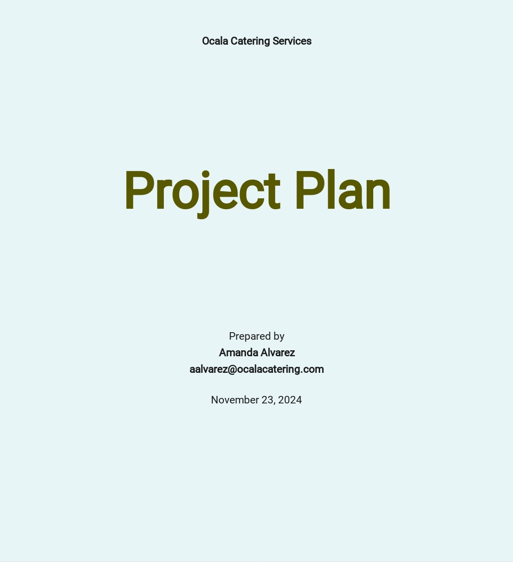 Catering Project Plan Template