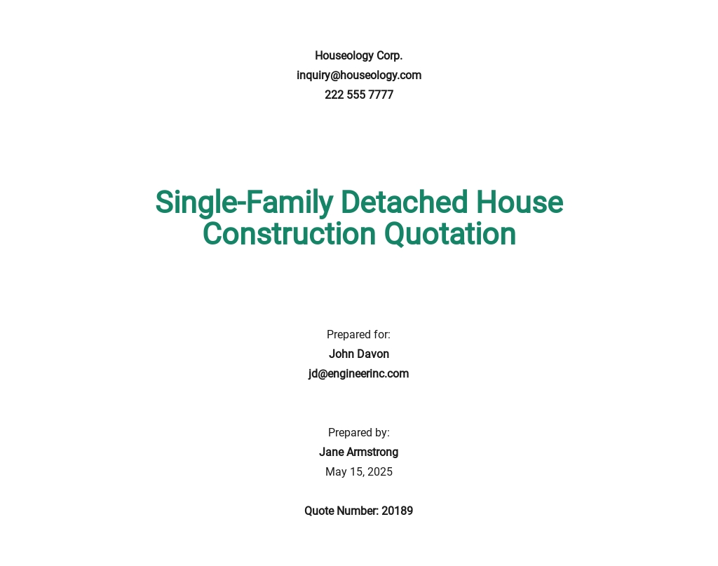 Free House Construction Quotation Template
