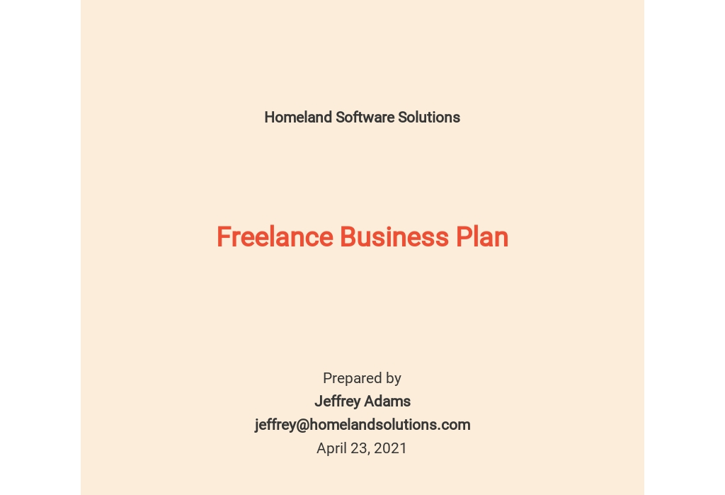 Freelance Business Plan Template