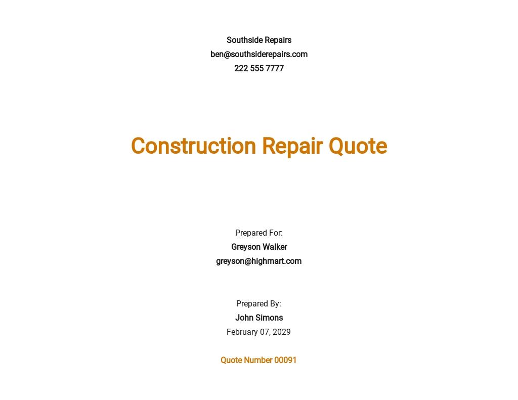 Free Sample Repair Quotation Template