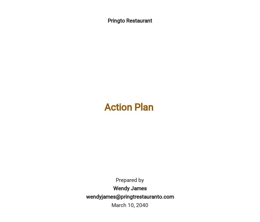 One Page Strategic Action Plan Template