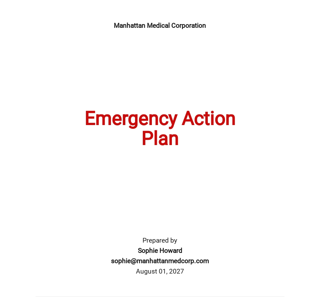 Emergency Action Plan Template