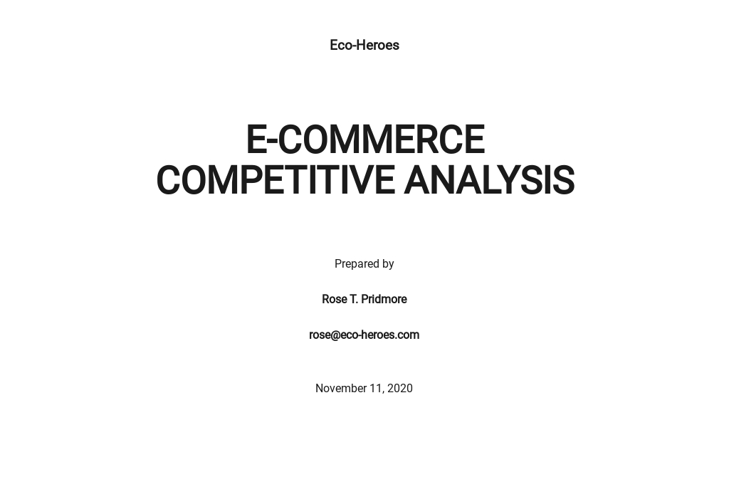 E-Commerce Competitive Analysis Template