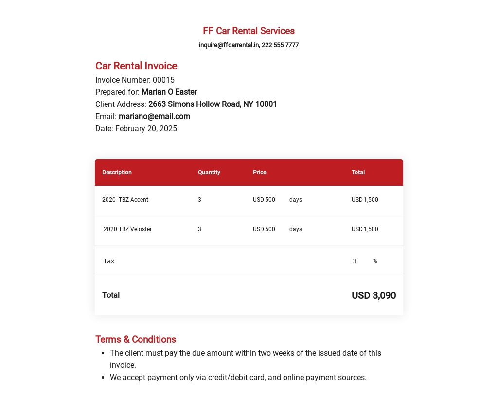 Free Car Rental Invoice Template