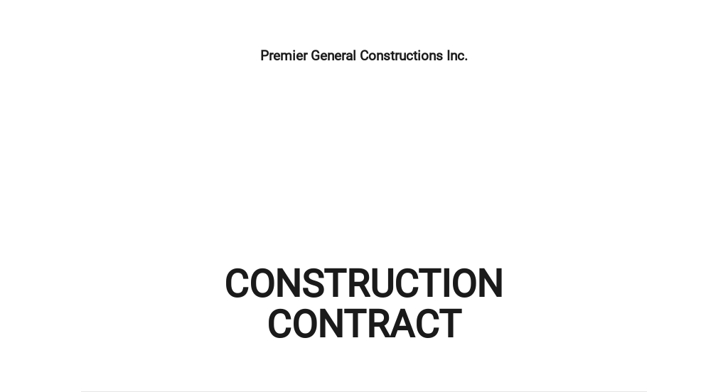 Free General Construction Contract Template