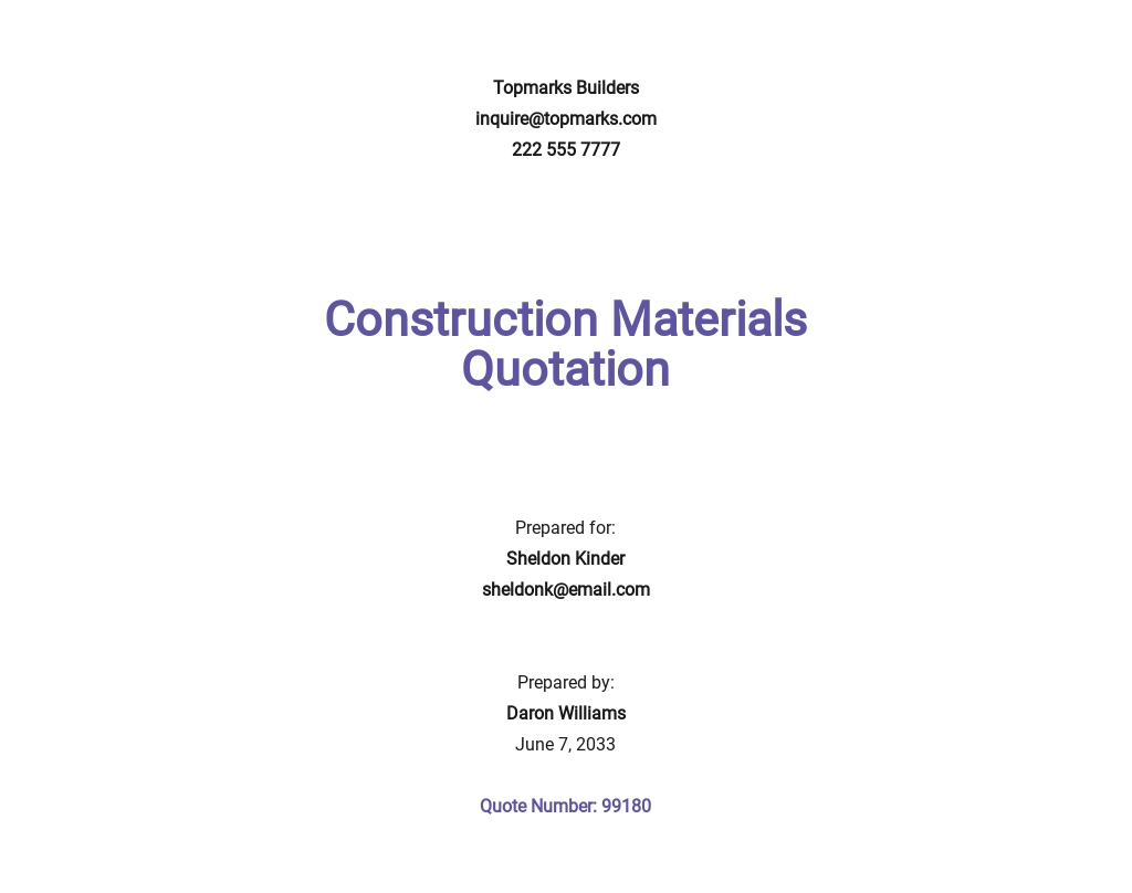 Free Construction Material Quotation Template