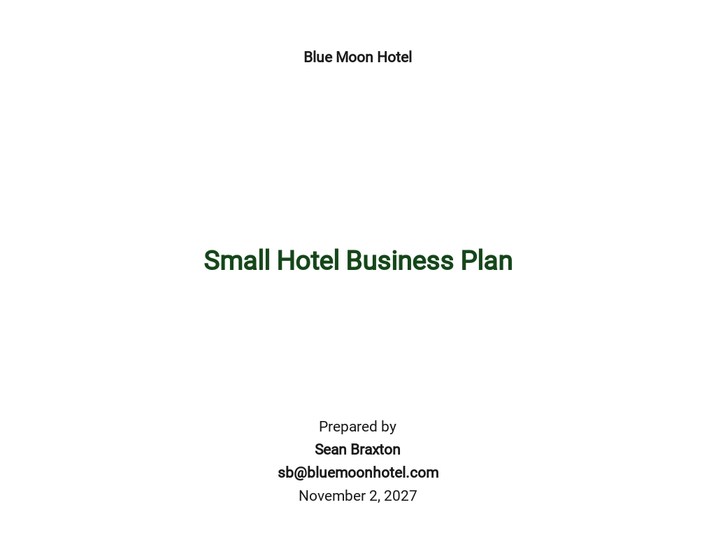Small Hotel Business Plan Template