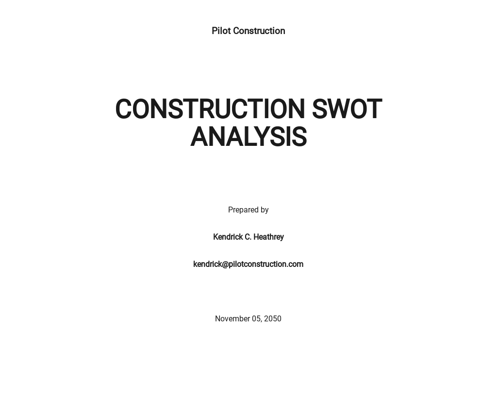 Free Construction Basic SWOT Analysis Template