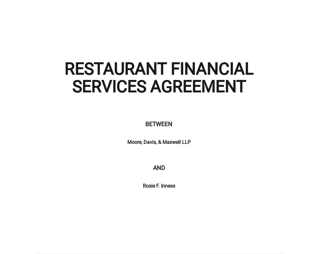 Restaurant Financial Services Agreement Template