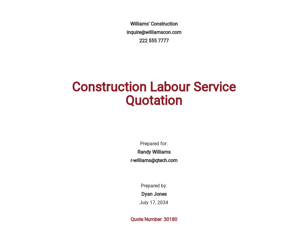 Free Construction Labour Quotation Template