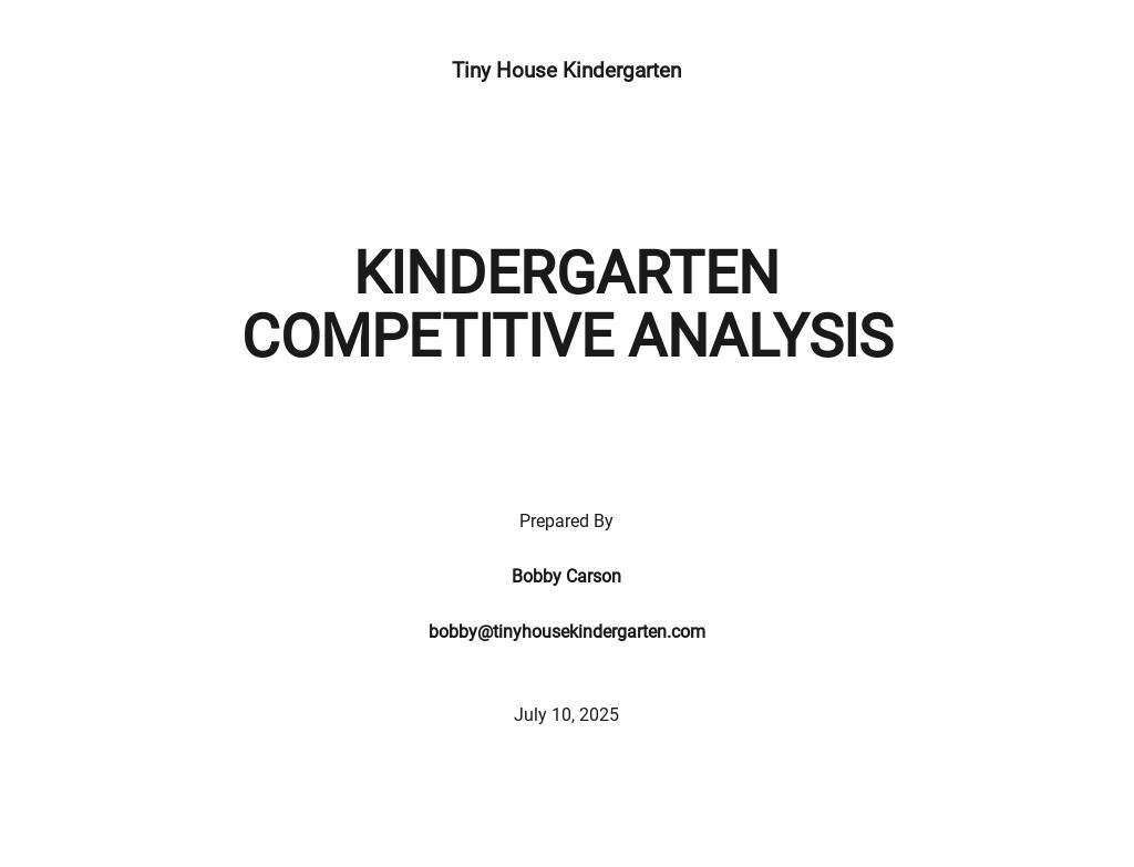 Kindergarten Competitive Analysis Template