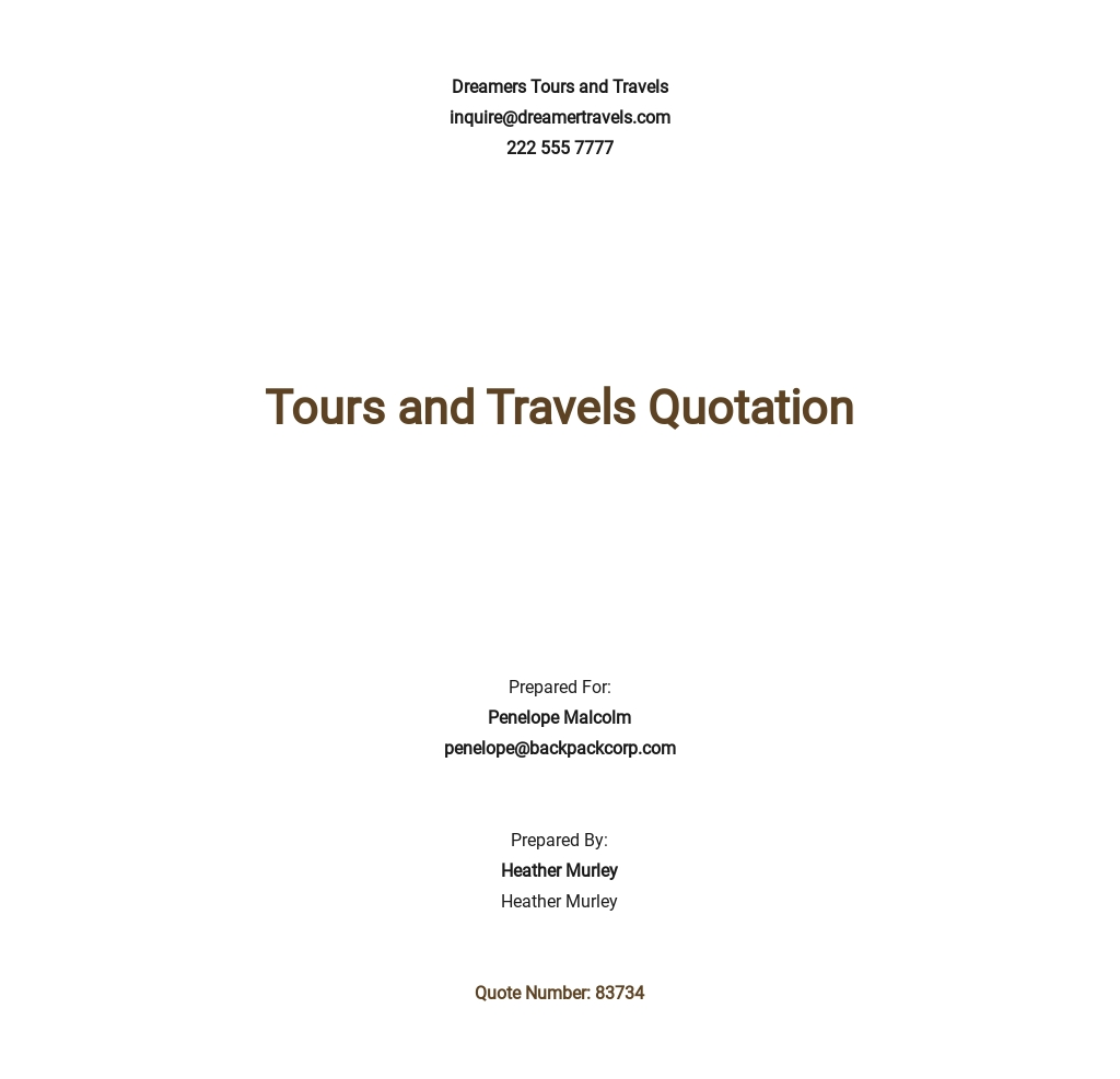 Free Tours and Travel Quotation Template