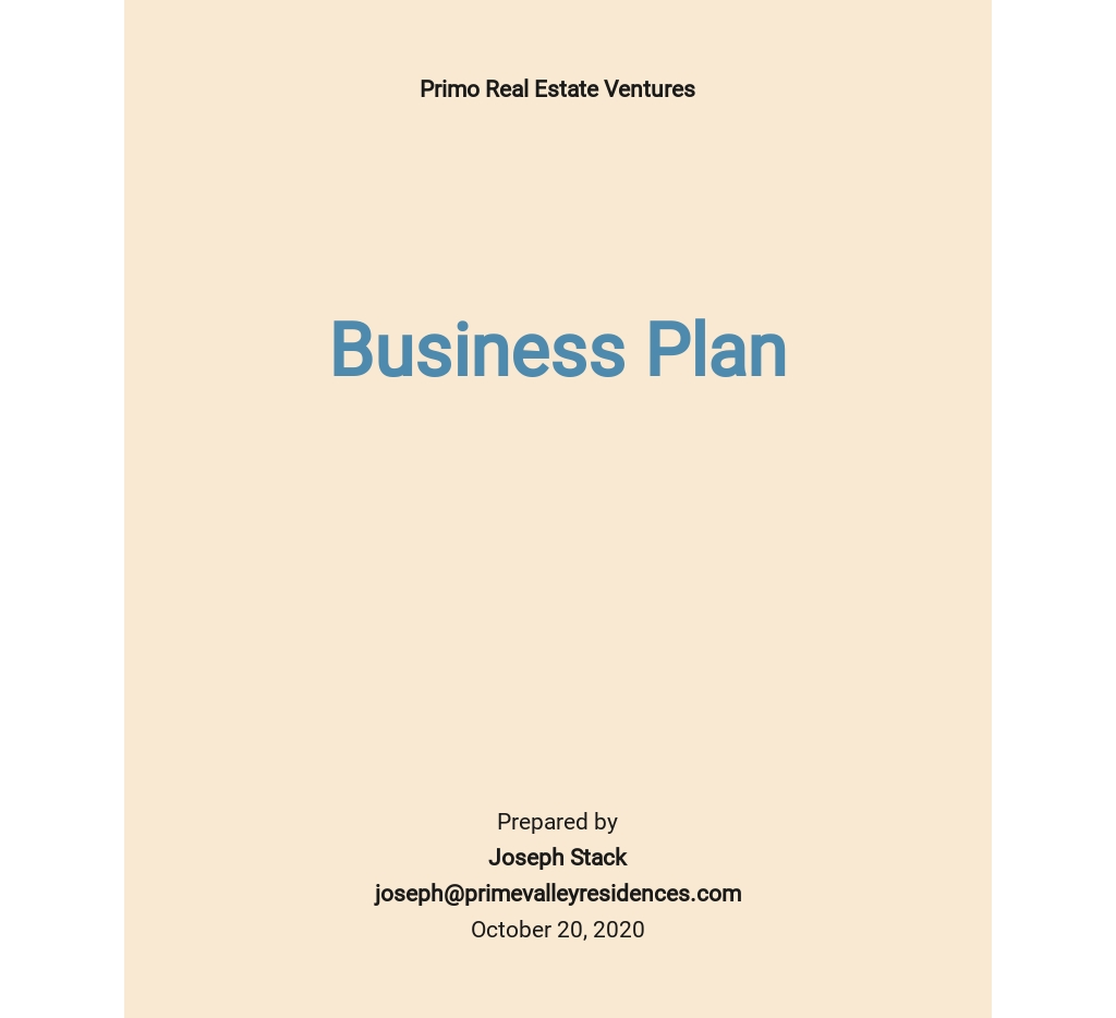 Rental Property Business Plan Template