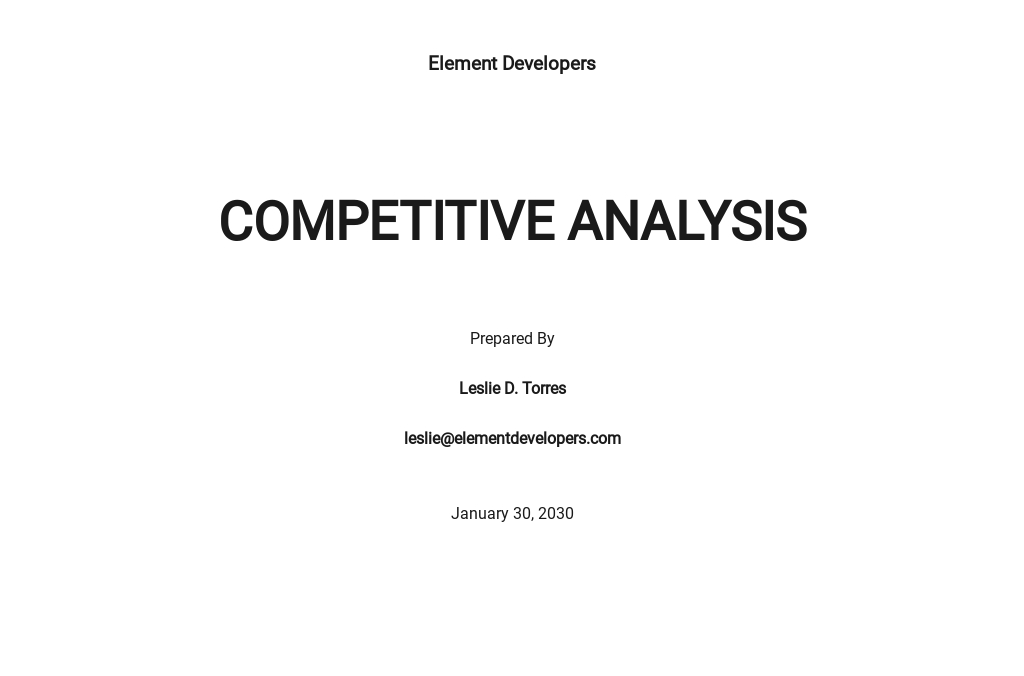 Software Competitor Analysis Template