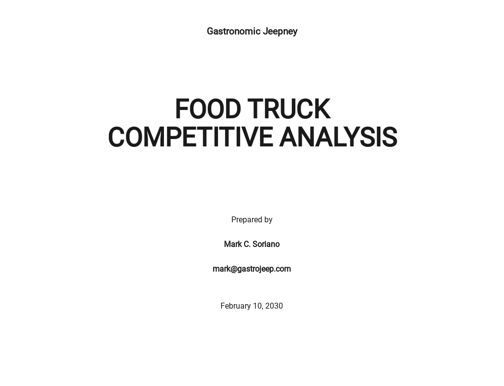 Food Truck Competitive Analysis Template
