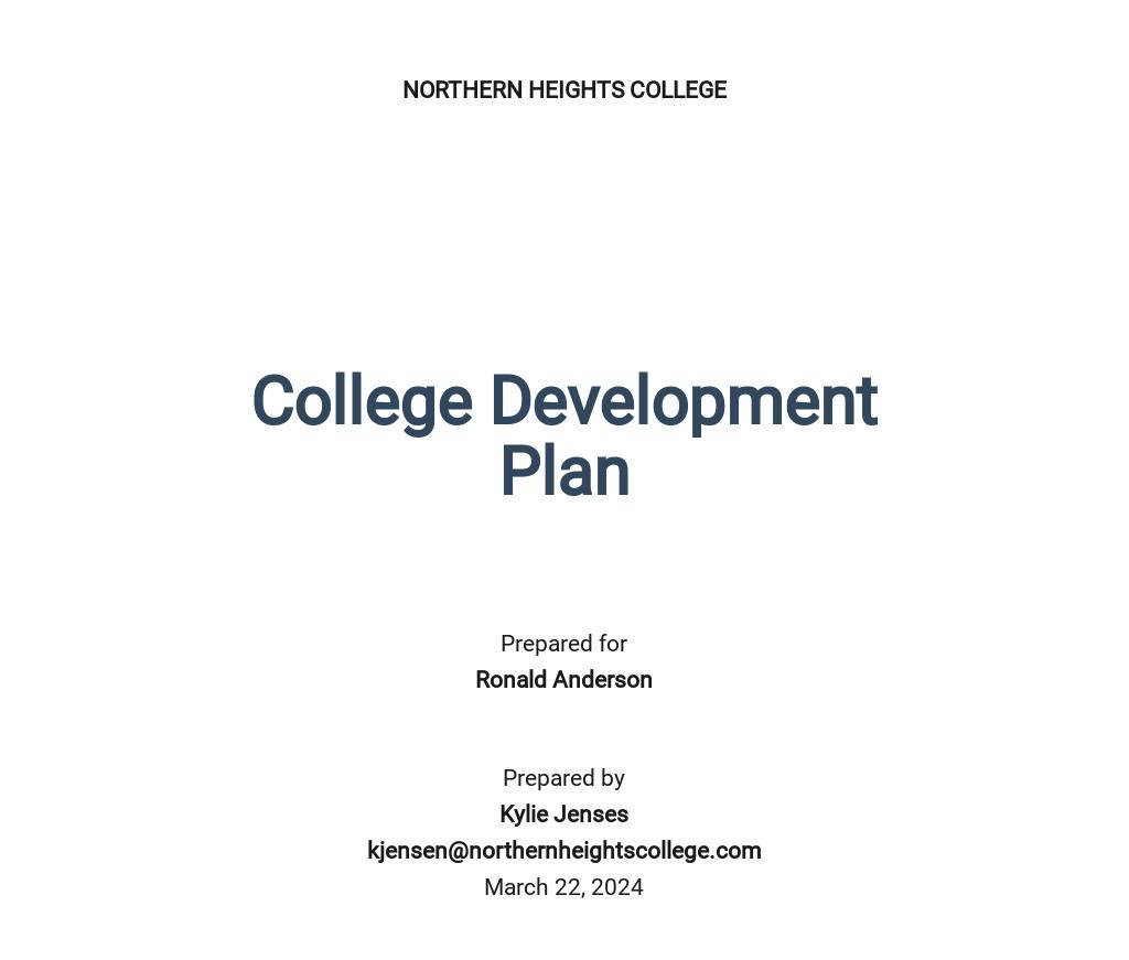 College Development Plan Template